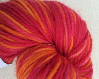 Red, and Orange Self Striping Sock Yarn Superwash Merino Sport Weight