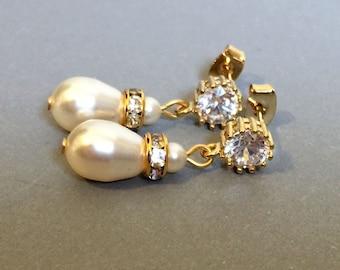 Pearl Bridal Earrings with Rhinestone in Gold Swarovski teardrop pearls in Cream Ivory or White elegant sparkling wedding jewelry bridesmaid