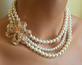 Bridal Backdrop Necklace Pearl with Rose Gold Brooch 3 multi strands white Swarovski pearls or your choice of color Elegant bridal wedding