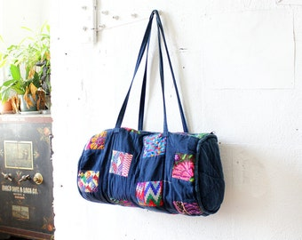 Denim Patchwork Duffel Bag • Blue Overnight Bag • Cotton Indigo Bag • Vintage Duffel Bag • Denim Patchwork Travel Bag • Boho Bag  | B516