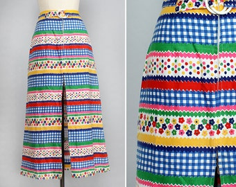 Kitschy Maxi Skirt S • 60s Mod Cotton Maxi Skirt • High Waisted Summer Skirt • Rainbow Skirt • Polka Dot Skirt • Gingham Skirt | SK574