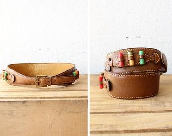Vintage Gucci Belt • 70s Belt • Leather Ammo Belt • Leather Cinch Belt Made in Italy • Saddle Leather • Wide Brown Leather Belt | GBT001