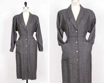 80s does 40s Gray Wool Dress S • Wool Wiggle Dress • Collared Dress with Pockets • Knee Length Power Suit Dress | D444