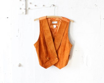 Suede Vest S/M • 90s does 70s Orange Leather Fitted Vest • Lord and Taylor Leather Vest • Suede Women's Waistcoat | T347