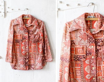 Kilim Print Shirt S • 70s Shirt Jacket • Orange Print Blouse • ACT III Collared Shirt | O209