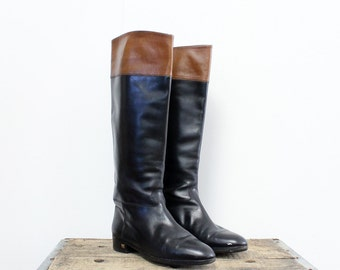 Italian Riding Boots 37 • Two Tone Leather Boots 6 1/2 • Brown and Black Flat Boots | SH241