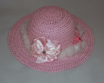 Tea Party Hat - Pink Easter Bonnet with White Boa - Girls Sun Hat - Easter Hat -  Birthday Hat - Sunday Dress Hat - Derby Hat  1669