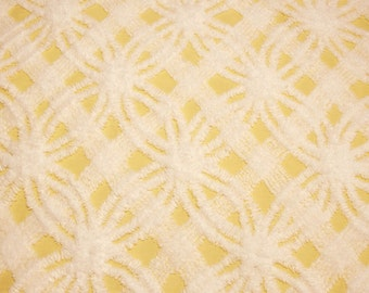 Sunny Yellow and White Chenille Plush Double Wedding Ring and Lattice Morgan Jones Vintage Chenille Bedspread Fabric Piece - 35 x 25 Inches