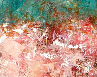 Absract Painting Expressionism Painting  Textured Painting Teal Red Pink Peach Song of the Heart 24 x 18 Swalla Studio abstract landscape