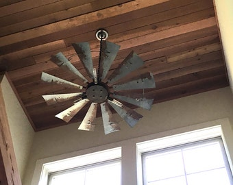 Windmill light fixture with rustic finish