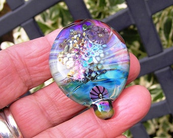Silver Glass and Glitter Frit Lentil Focal Bead  Handmade Lampwork focal SRA UK FHFteam Y3