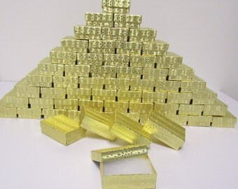 100 Pack Gold Boxes (3.25 x 2.25 x 1 in) // ECONOMY SIZE //