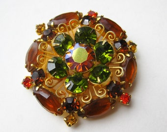 Vintage 50s 60s Sparkling Topaz Green & Orange Rhinestone Starburst Brooch Pin
