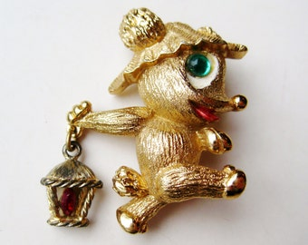 Vintage Monet Figural Bear with Lantern Jeweled Novelty Brooch Pin