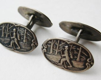 Vintage Norwegian 830S Sterling Silver Cross Country Skier Cufflinks