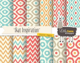 50% Off - Ikat Digital Paper, Ikat Digital Backgrounds, Ikat Scrapbook Paper, Coral and Turquoise, Instant Download, Commercial Use