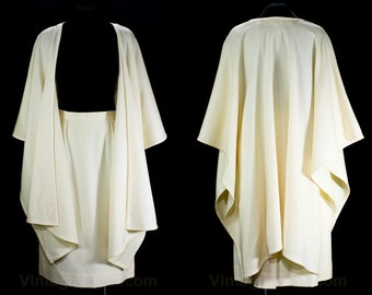 Size 8 Shawl & Skirt - Designer David Hayes for Lillie Rubin - Haute Quality Ivory Wool - Dramatic Cape Like Wrap - 1980s - Waist 27 - 46870