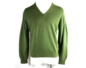 Men's Large 1950s Sweater - Moss Green Wool Mens Pullover - 50s V Neck Mid Century Sweater - Made in England - Chest 46 - 35723-1