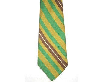 Men's 1960s Tie - Striped Chartreuse & Cocoa Raw Silk Tie - Lime Green Golden Yellow Brown - Diagonal Stripes - Late 60s Early 70s - 32729-1