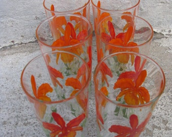 vintage painted tumblers red cattleya orchid glasses set of 6  orange and green glasses cottage grandma chic shabby
