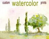 Three 5x7 prints of the San Pietro Avellana watercolor