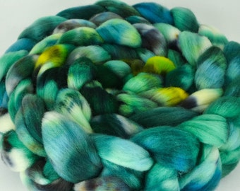 Cormo Wool Top, Hand Dyed, Spinning and Felting Fiber Colorway- The River