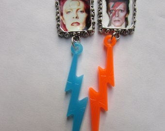 David Bowie Stud Earrings  or brooch pins Aladdin Sane ziggy stardust Lightning bolt