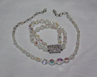 Vintage clear crystal single strand necklace and triple strand crystal rhinestone bracelet