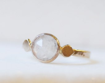 Moonstone Spring Petal Ring - 14k Gold Rose Cut Moonstone Ring - Eco-Friendly Recycled Gold