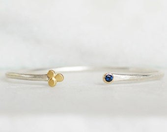 Sapphire or Ruby Cuff- Sapphire Sterling and 18k Gold - Flower Bud Cuff