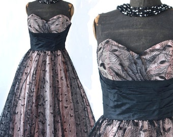 50's Emma Domb Pale Pink Strapless Full Skirt Dress with Black Lace Overlay
