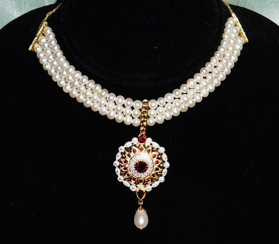 NATURAL Pearl, Garnet, Diamond, 14kt yellow and white gold Necklace 16""