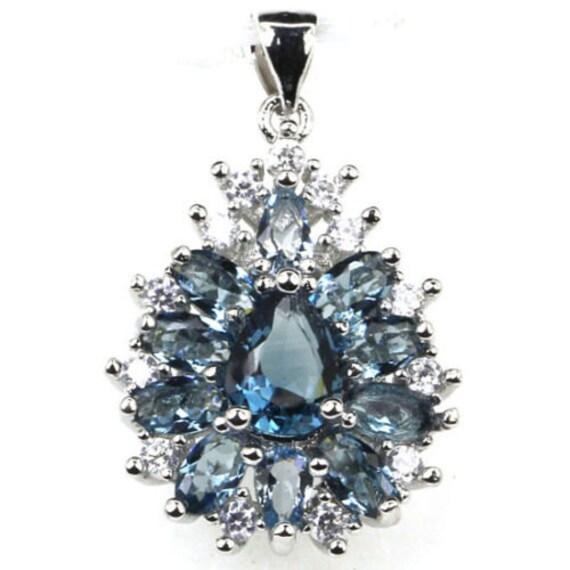 NATURAL London Blue Topaz gemstones, White CZ, 14kt White Gold Pendant & Chain