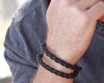 Leather Bracelet for Men, Braided DOUBLE WRAP Bracelet, BLACK Leather and Silver Bracelet, Custom Men's Leather Bracelet, Cool Mens Bracelet