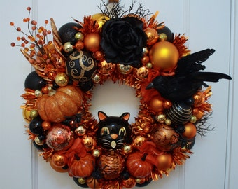 "Halloween Ornament Wreath Vintage Inspired ""Creatures of the Night"" w/ Pumpkin, Black Cat, Raven, Singed Rose, Kitsch Orange Tealight Door"