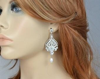 Bridal Vintage Style Chandelier Earrings, Swarovski Teardrop Pearls, Wedding Jewerly, Filigree, Lena - Ships in 1-3 Business Days