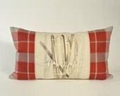 "Pillow Après-ski 24"" x 14"" Rectangular Boudoir Cushion winter sports Chic cottage Ski Lodge accent Red grey plaid beige"