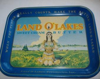 "Metal Land O' Lakes Tray, 13.25"" x 10.5"""