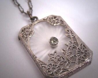 Antique Camphor Glass Crystal Necklace Vintage Art Deco c.1920 Pendant