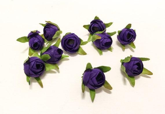 Silk Flowers - 10 Ranunculus Buds DEEP PURPLE - Artificial Flowers, Bridal Flowers, BlissfulSilks Wreaths at Etsy Studio