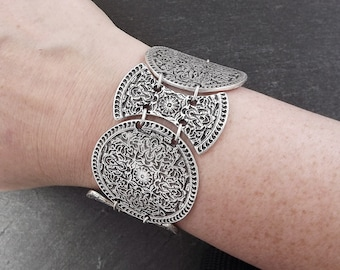 Ottoman Floral Tile Inspired Ethnic Statement Bracelet - Authentic Turkish Style