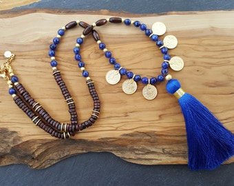 Long Beaded Tassel Necklace Gypsy Jewelry Hippie Bohemian Artisan -  Blue Gemstone Wooden Beads