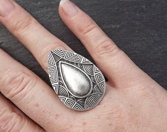 Aztec Teardrop Adjustable Silver Ethnic Tribal Boho Statement Ring