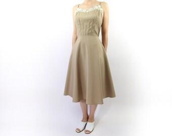 VINTAGE Sundress Khaki Floral Full Skirt