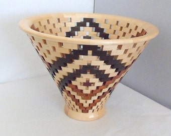 Open Segmented Vase Wood Vessel Hand Crafted Exotic Woods Handmade Decorative Vase Petals Wedding Gift 5th Wedding Anniversary GIft