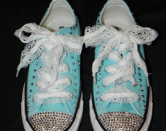 Rhinestone and Lace Converse Shoes - Bridal Converse - Decorated Sneakers