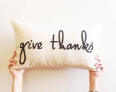 "give thanks decorative pillow cover typography 12"" x 20"" natural fall autumn urban farmhouse industrial thanksgiving rustic"