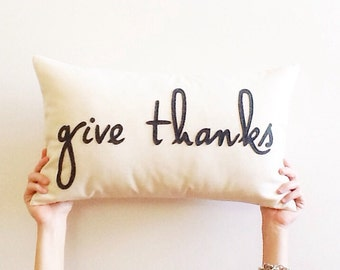 "give thanks decorative pillow cover typography 12"" x 20"" natural fall autumn urban farmhouse industrial thanksgiving rustic fall gift"