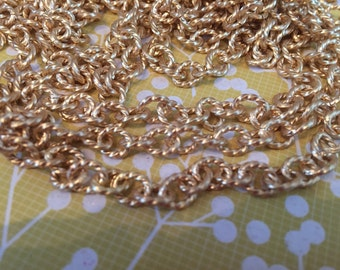 NEW High Quality twisted link BRUSHED matte gold plated 7mm x 6mm chain 1 foot
