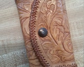 Vintage Tooled Leather Silver Tone Hardware Key Wallet Key Case As Is Tan Leather